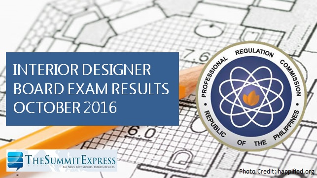 Interior Designer board exam results October 2016