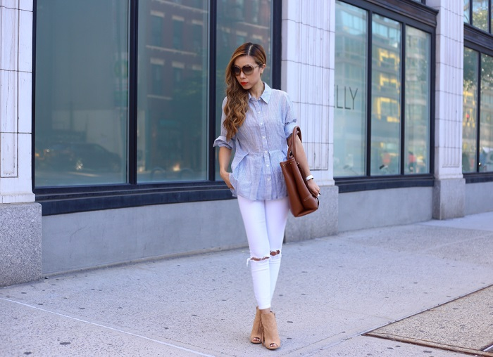 anthropologie striped peplum button down, asos distressed jeans, fringed peep toe booties, alexander mcqueen tote, swarovski amazing sunglasses, oversized sunglasses, fashion blog, best labor day weekend sales, on sale, labor day sale, street style