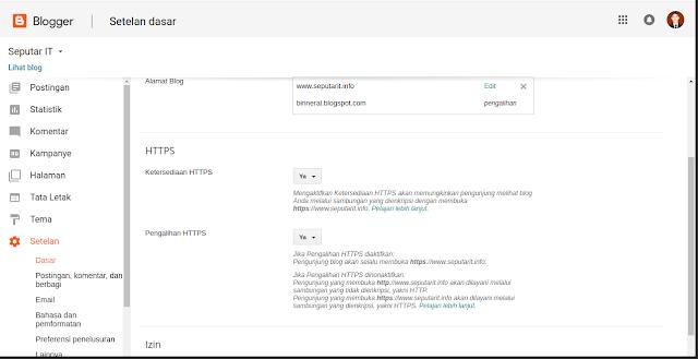 Cara Memasang SSL di Blogger