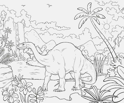 Lovely landscape Triassic period broad lizard Plateosaurus dinosaur giant herbivore reptile coloring