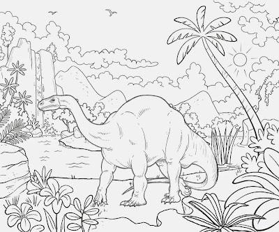 Lovely landscape Triassic period broad lizard Plateosaurus dinosaur giant herbivore reptile coloring