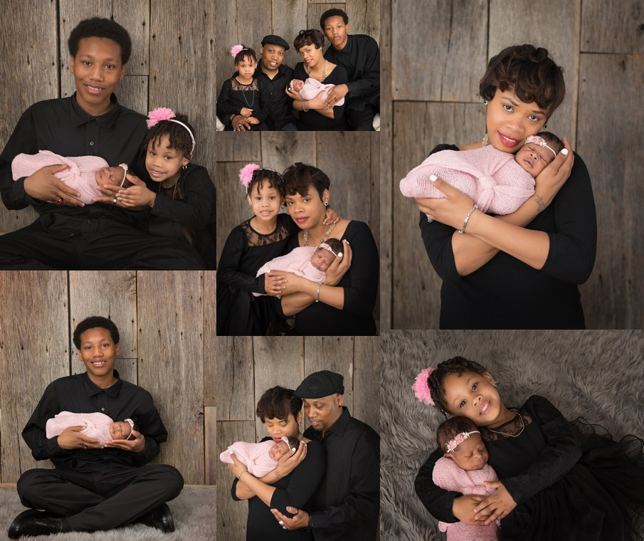 Stylish African American Family Newborn Photos in studio