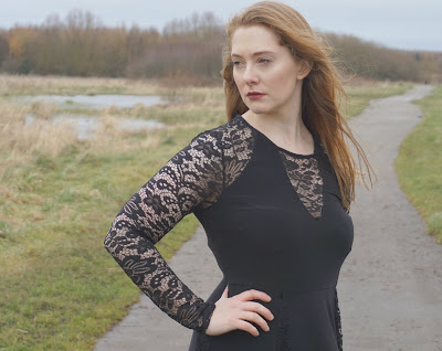 girl in black lace dress by simply be