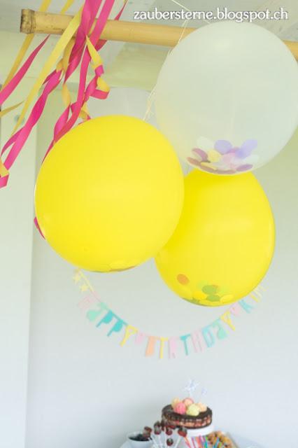 Ballone mit Konfetti füllen, Kindergeburtstag, happy with confetti