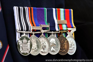 War medals - Anzac Day parade in Havelock North photograph