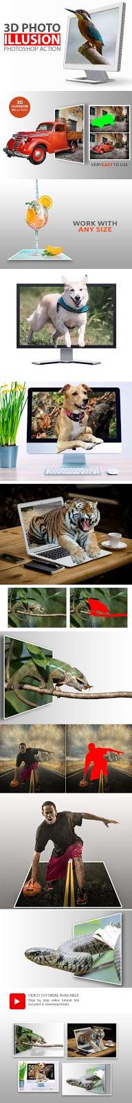 تحميل الأكشن المدهش لإخراج عنصر عن إطار الصورة - 3D Photo Illusion Photoshop Action