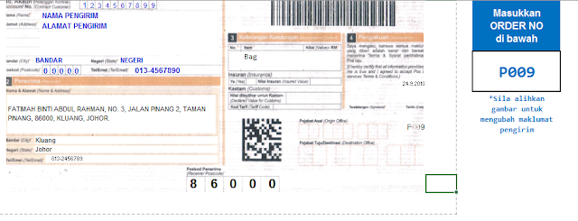 Template Poslaju Database System Orange