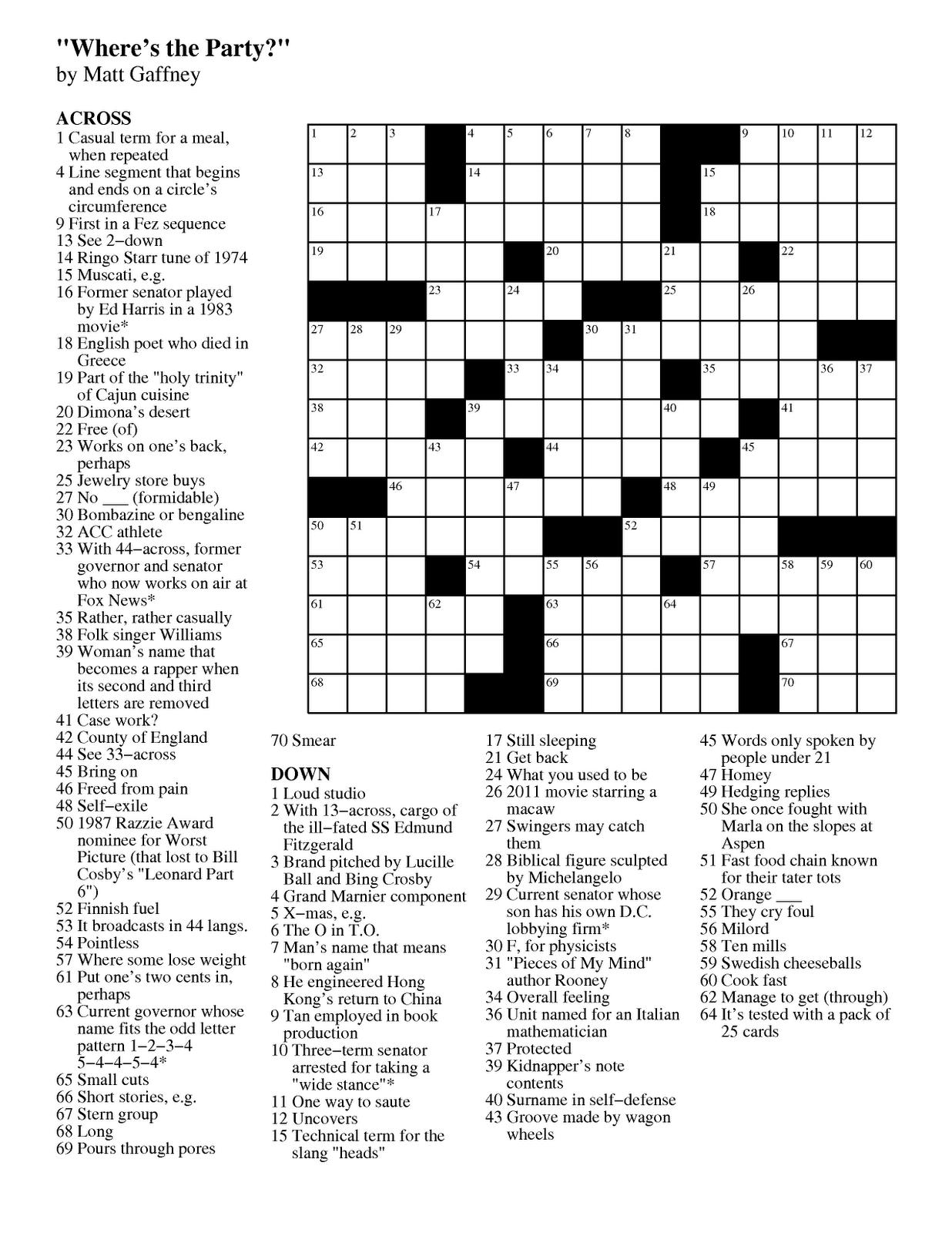 Matt Gaffney's Weekly Crossword Contest: November 2011