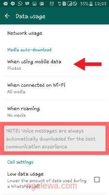 Tampilan pengaturan aplikasi whatsapp