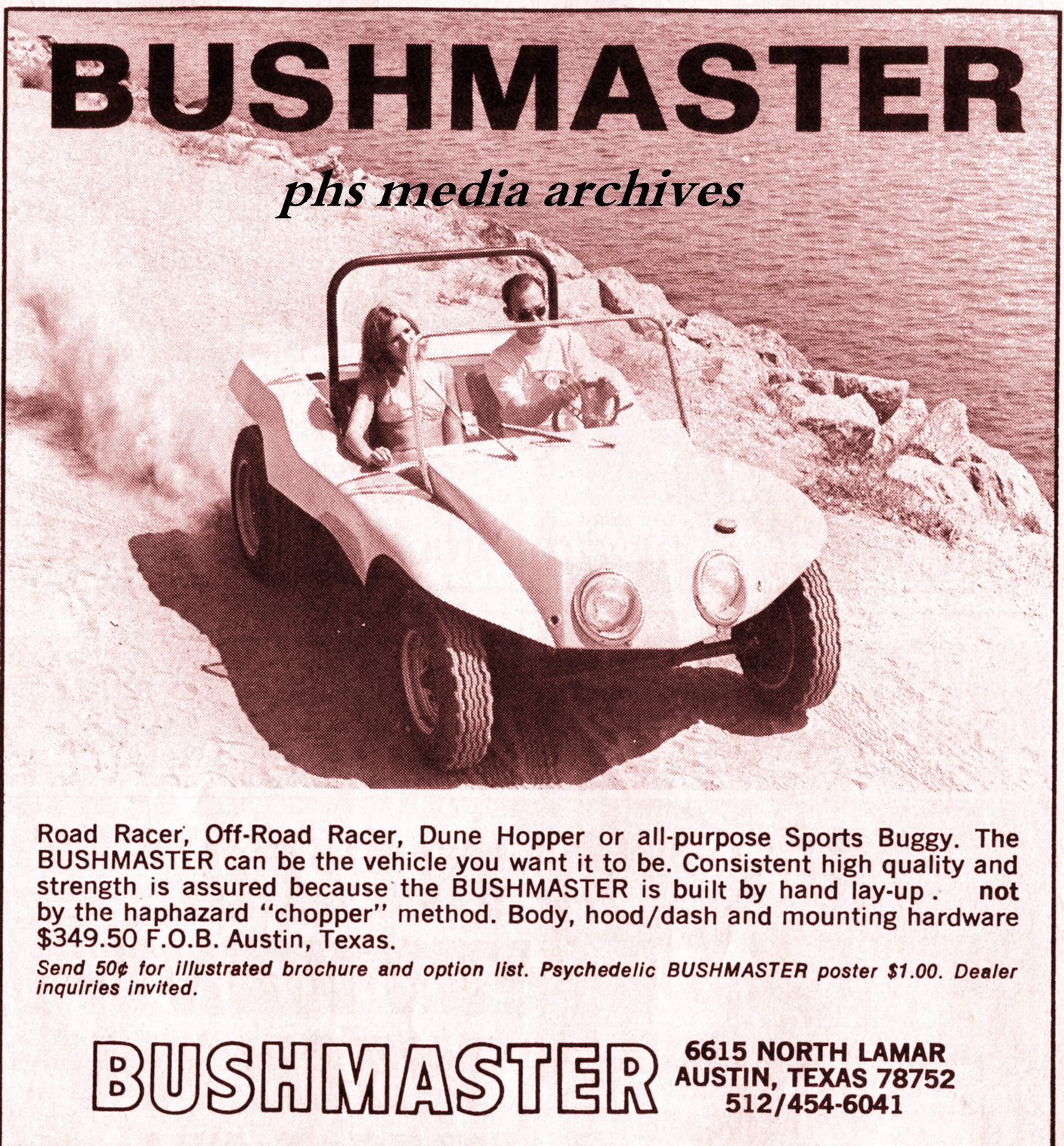 Summer Special On 1960s Dune Buggy Kits Phscollectorcarworld 1967 Vw Beetle Simple Wiring Diagram Based In Austin Texas Bushmaster Had A Few Unique Design Cues Such As The Close Faired Headlamps And Rather Tall Boxy Hood Fenders Are Fully Enclosed