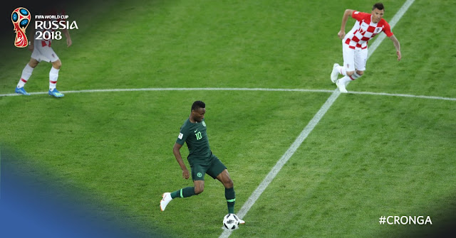 Super Eagles captain Mikel Obi in action vs Croatia