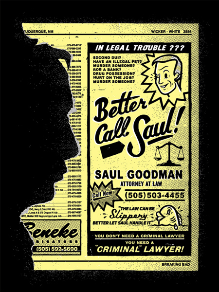 Breaking Gifs Limited Edition Breaking Bad Screen Prints - Saul Goodman by Chris DeLorenzo