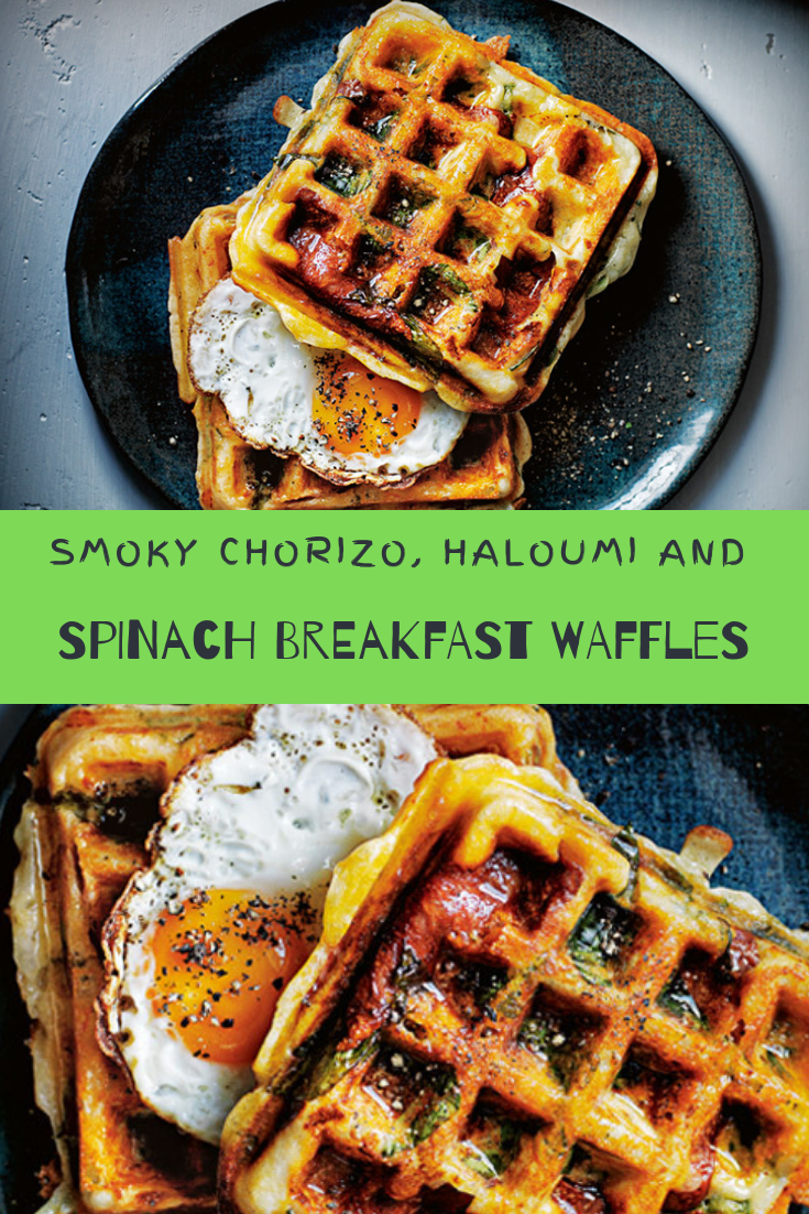 SMOKY CHORIZO, HALOUMI AND SPINACH BREAKFAST WAFFLES RECIPE