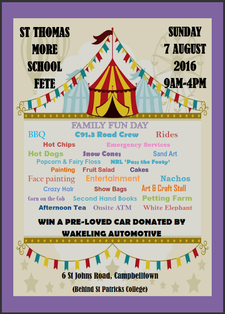 Flyer advertising school fete at St Thomas More, Ruse