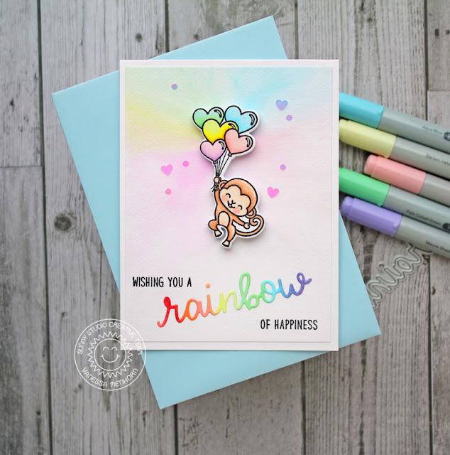 Sunny Studio Stamps: Over The Rainbow Love Monkey Rainbow Word Card by Vanessa Menhorn