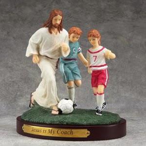Jesus is my coach football children statue