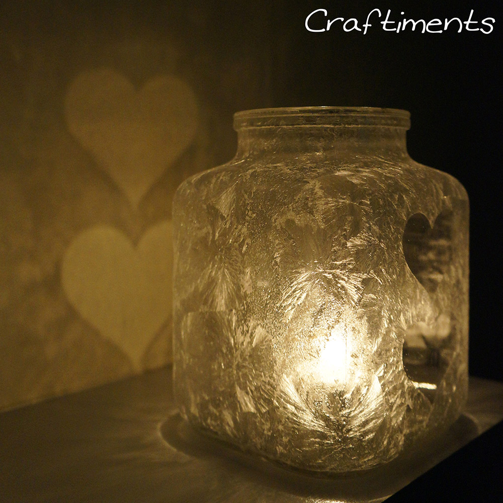 Craftiments:  Epsom salt luminary casts heart shaped shadows on wall