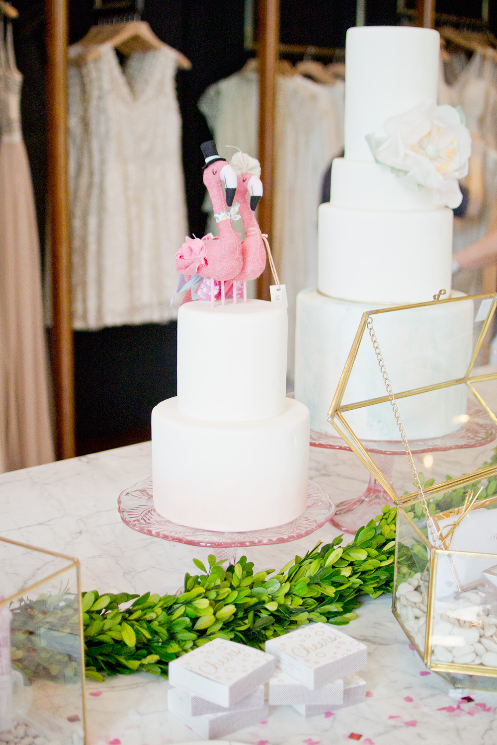 BHLDN Flamingo Wedding Cake Topper at Dress Appointment