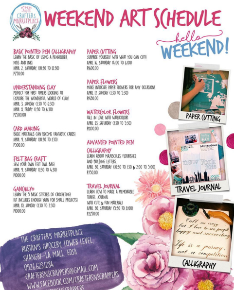 The Crafters Marketplace: Weekend Art Schedule