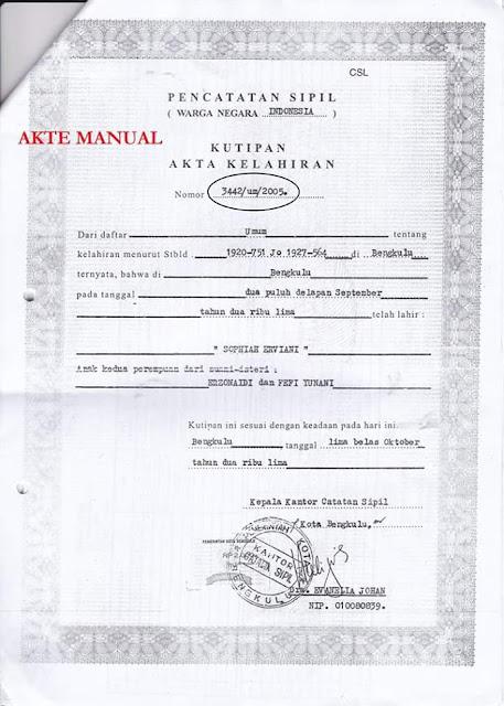 Input Nomor Registrasi Akta Kelahiran Versi Lama