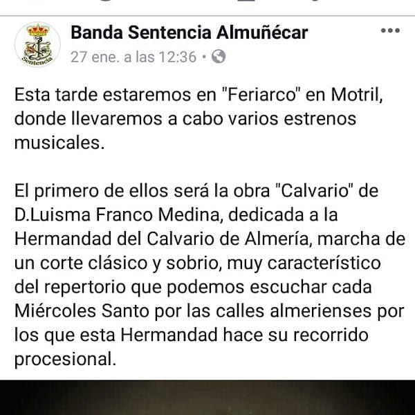 """Estreno de la marcha """"Calvario"""" por Sentencia de Almuñécar en pasado día 27/01"""