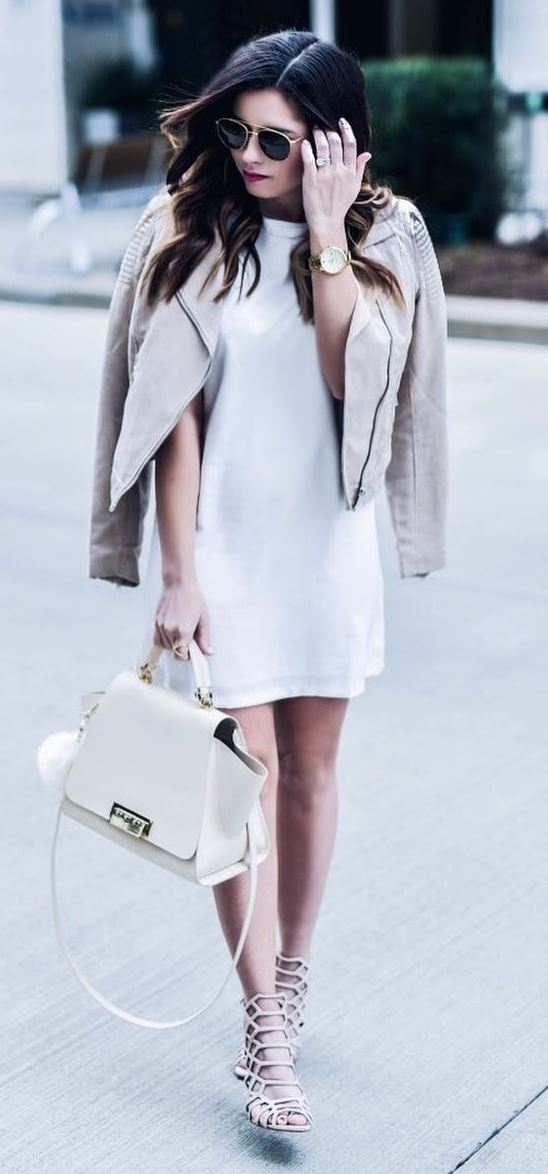 cool outfit idea: jacket + bag  + dress + sandals