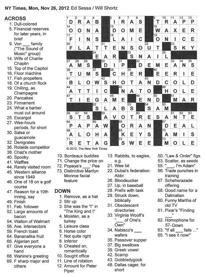 The New York Times Crossword in Gothic: 11.26.12 — Breakfast