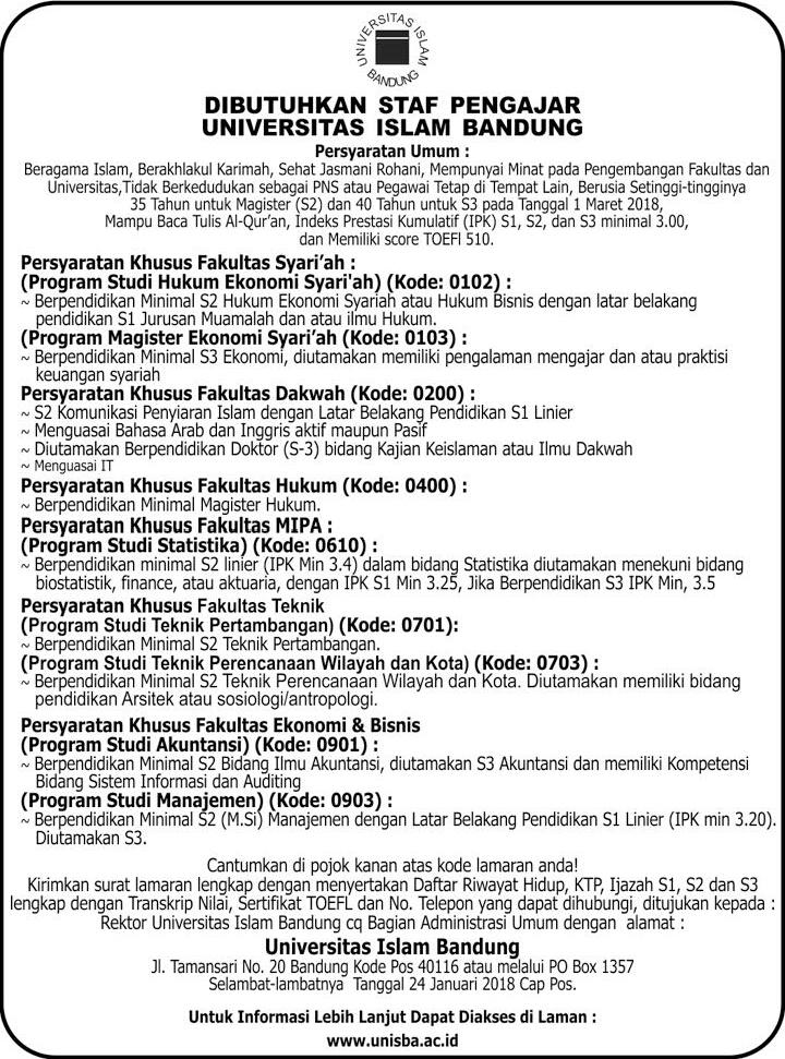 Lowongan Dosen / Tenaga Pengajar Universitas Islam Bandung (UNISBA)
