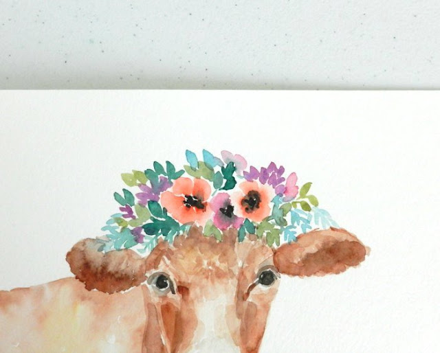 Brown Watercolor Cow with Flowers by Elise Engh: Grow Creative Blog