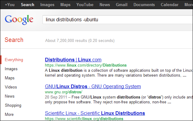 Minus sign for excluding a Word - example, linux distributions -ubuntu - Screenshot