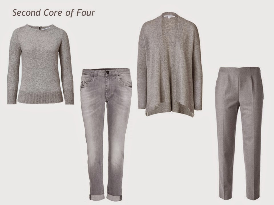 Grey Core of Four four grey garments cardigan sweater jeans and pants