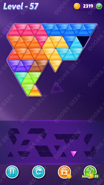 Block! Triangle Puzzle 12 Mania Level 57 Solution, Cheats, Walkthrough for Android, iPhone, iPad and iPod