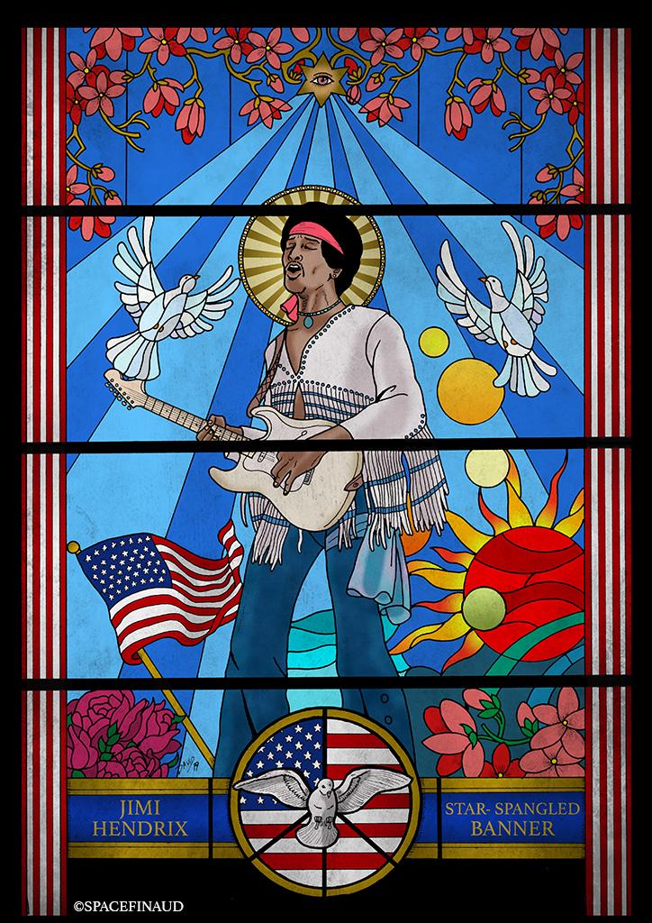 Et on commence l'année avec cette fois-ci, le vitrail de Jimi Hendrix. Avec pour thème Star-Spangled Banner. De quoi commencer à rendre hommage aux 50 ans de Woodstock.