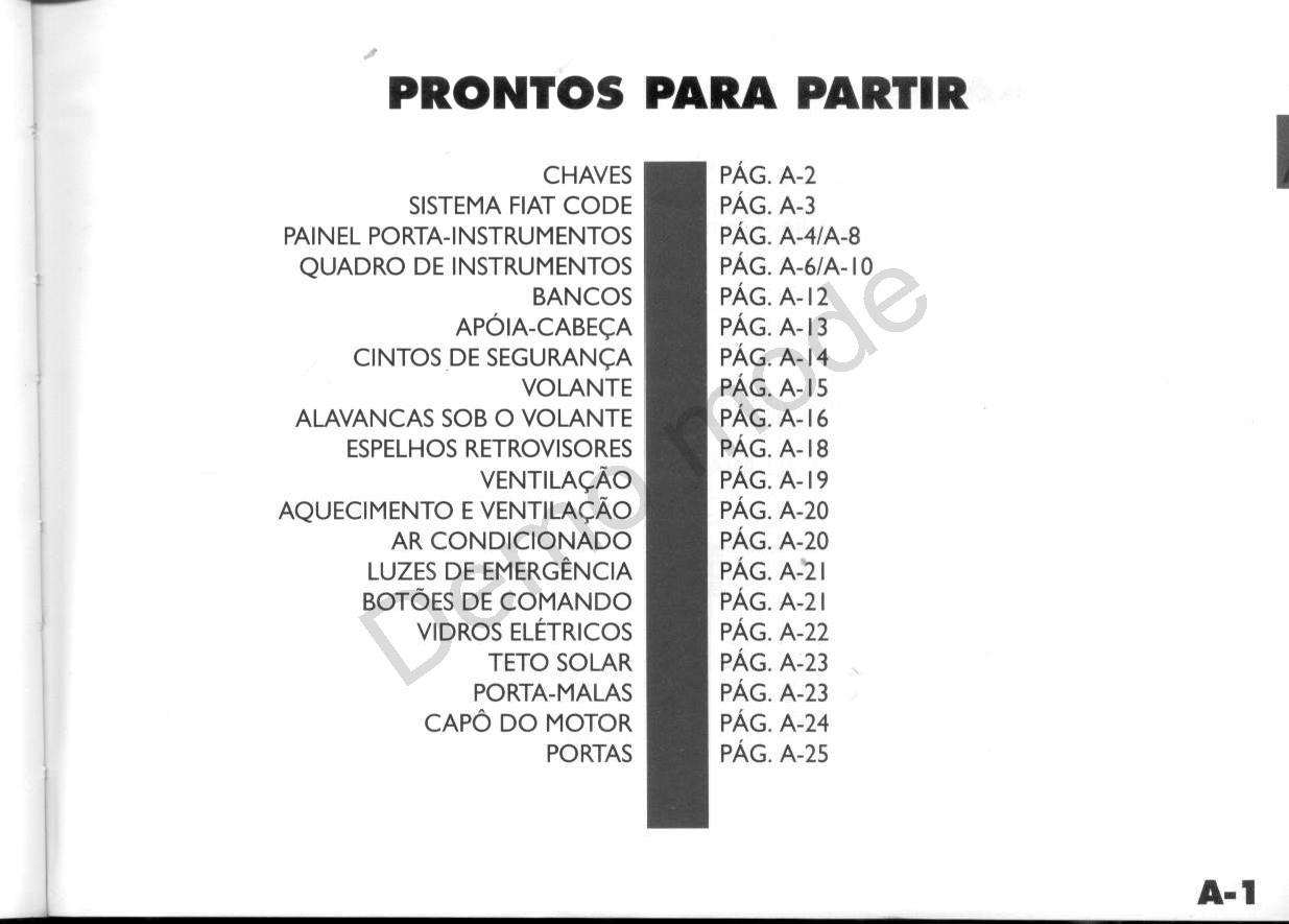MANUAIS DO PROPRIETÁRIO: Fiat Palio 1996 até 1999