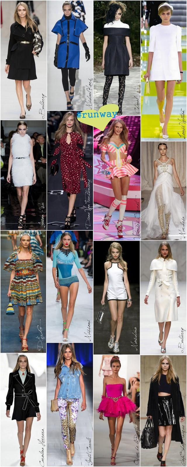 Cara Delevingne desfilando nas melhores semanas de moda para marcas famosas como Burberry, Dolce e Gabbana e Chanel.