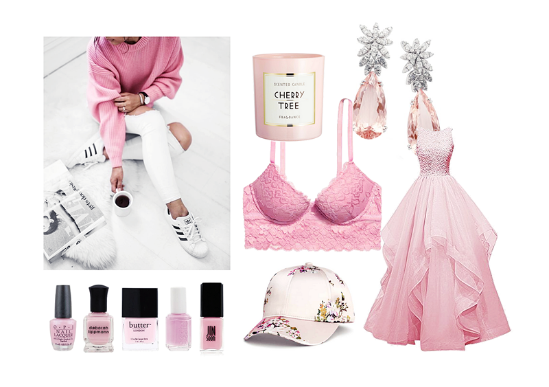 różowy moodboard