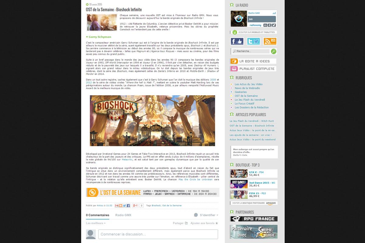 Création de site web, radio gmx