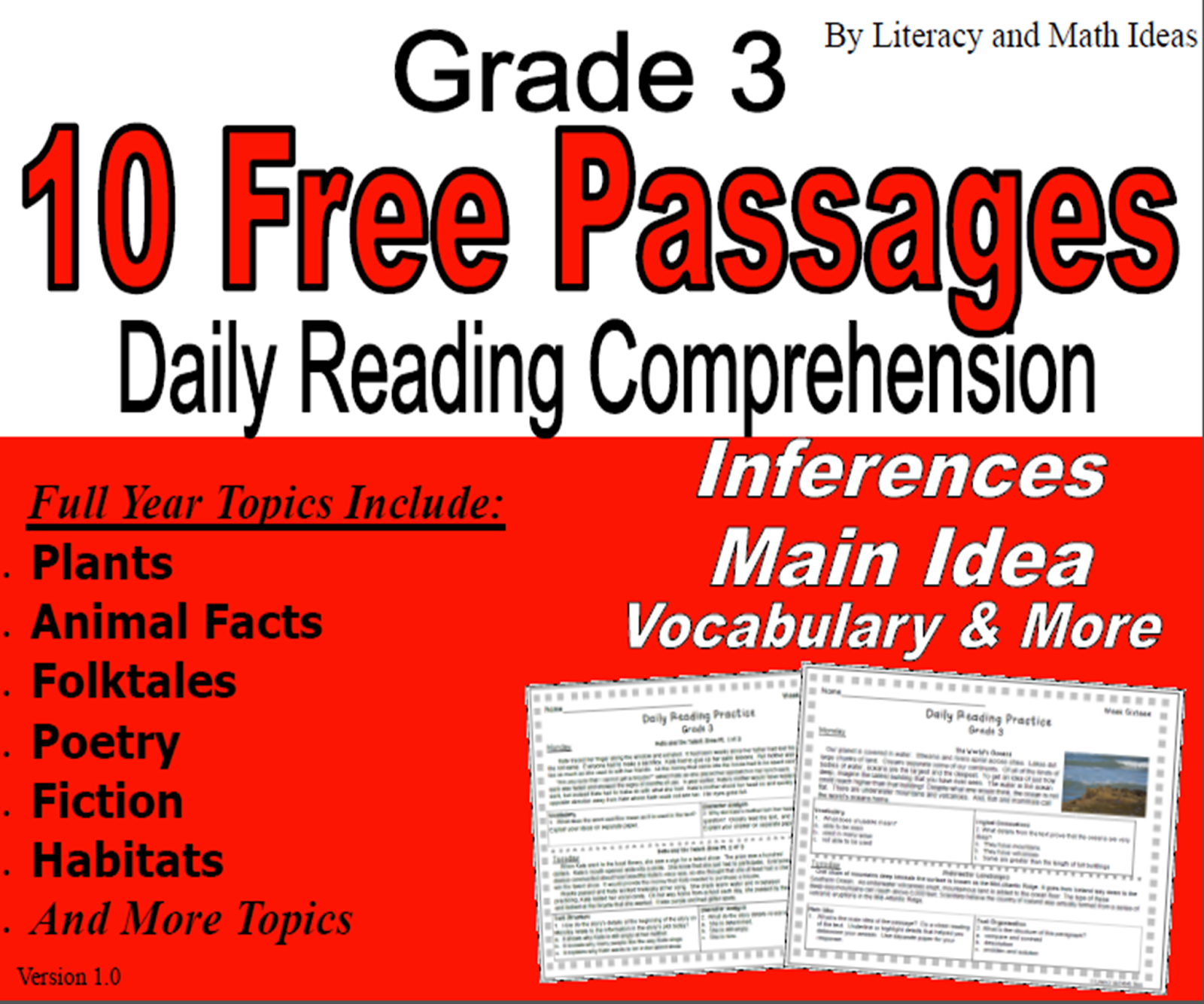 Simply Centers: Grade 3 Freebie (10 Free Reading Passages With
