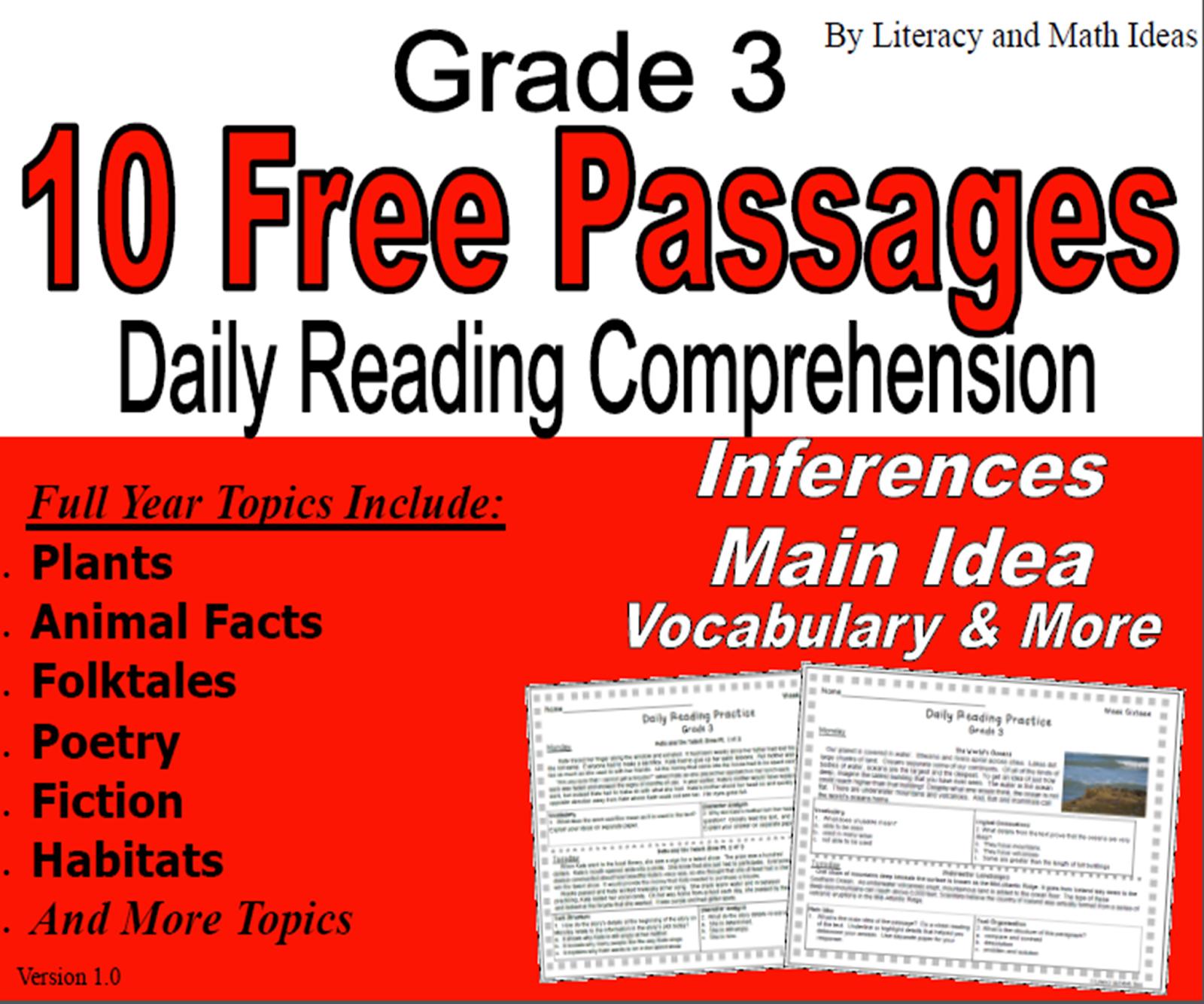 Literacy & Math Ideas: Free Third Grade Resource (10 Free Reading