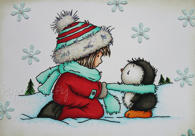 Christmas card using Cosy Penguin digital image by Lili of the Valley