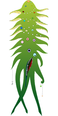 An elongated, multi-eyed, tentacled monster.