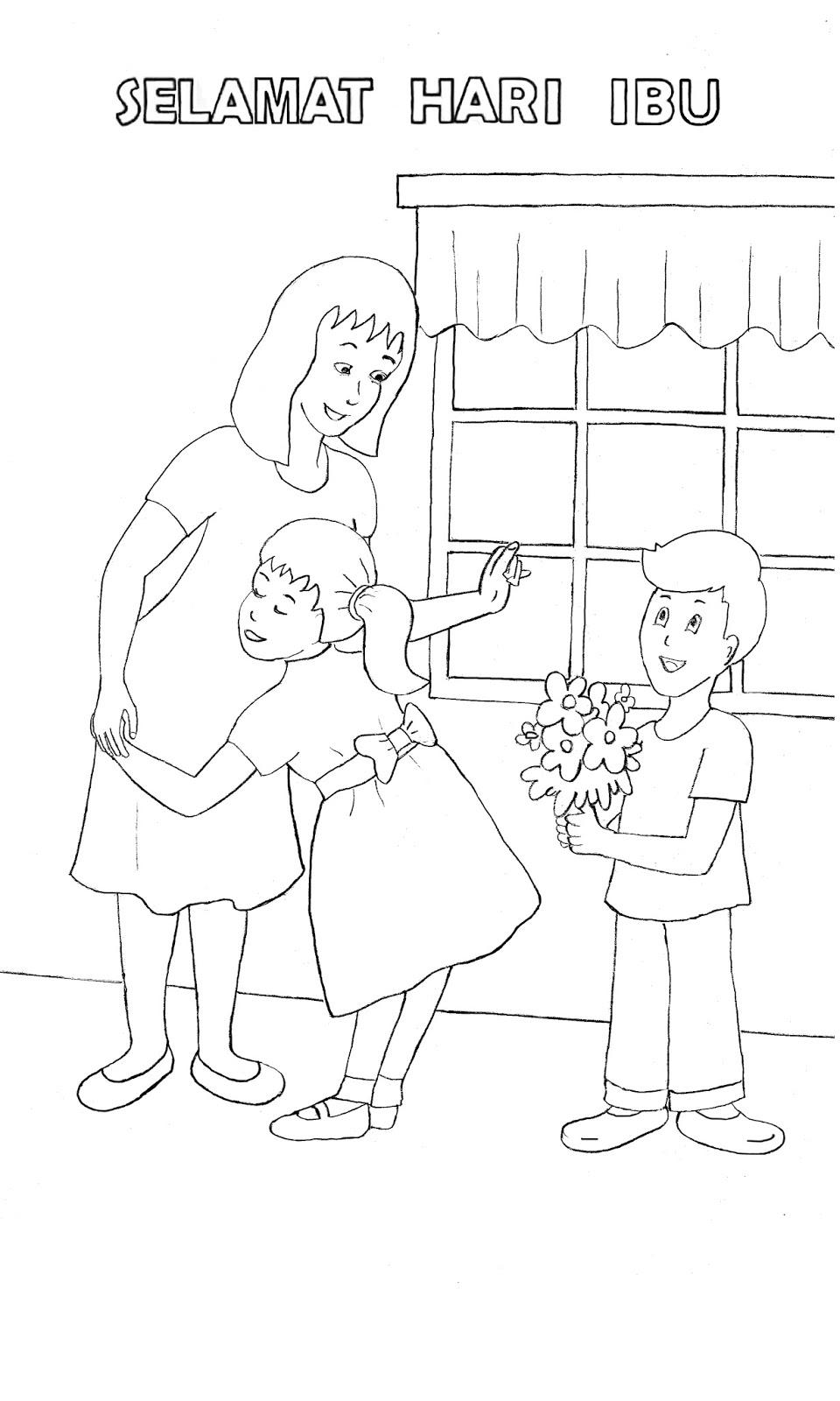Gambar Mewarnai Selamat Hari Ibu Colouring Happy Mother s Day