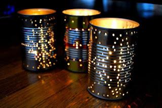 Lámparas artesanales con latas