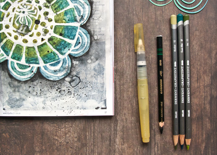 All the pencils used for this big flower stencil project by Kim Dellow