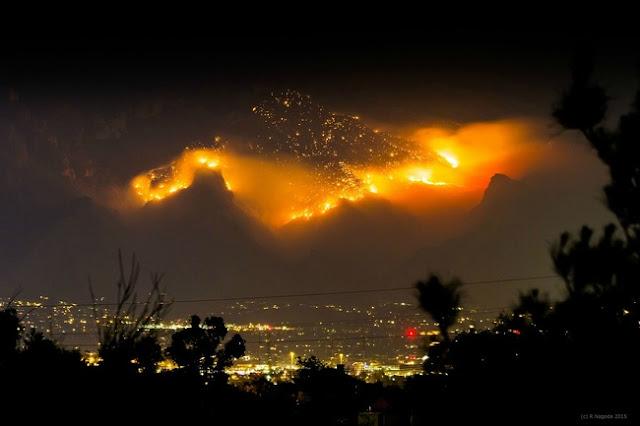 A mountain lit on fire in Tucson, Arizona
