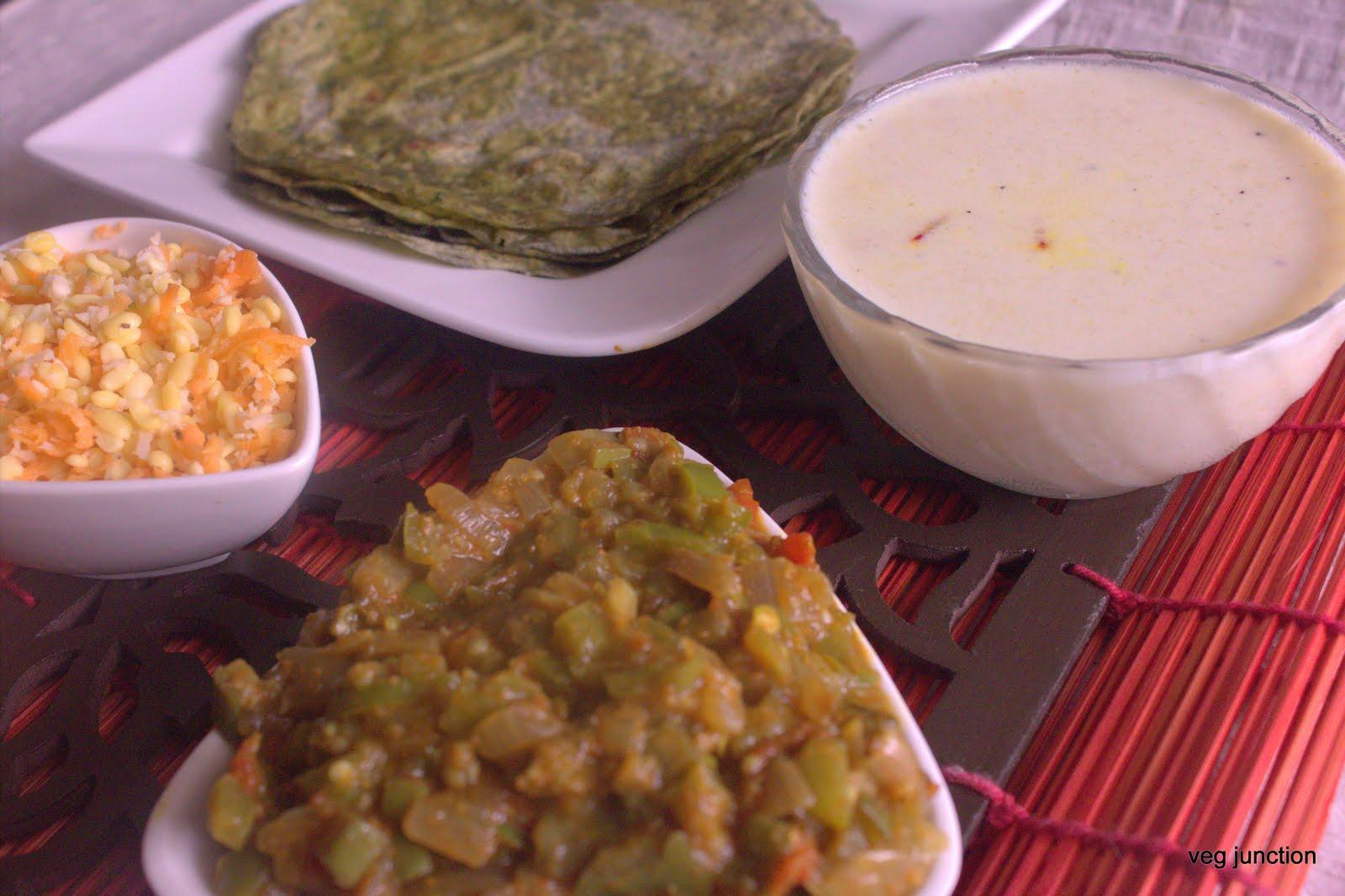 Palak Chapathi With Capsicum Brinjal curry - Veenas Vegnation  Palak Chapathi ...