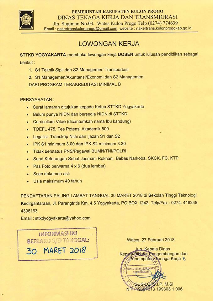 Lowongan Dosen Teknik Sipil & Ekonomi STTKD Yogyakarta