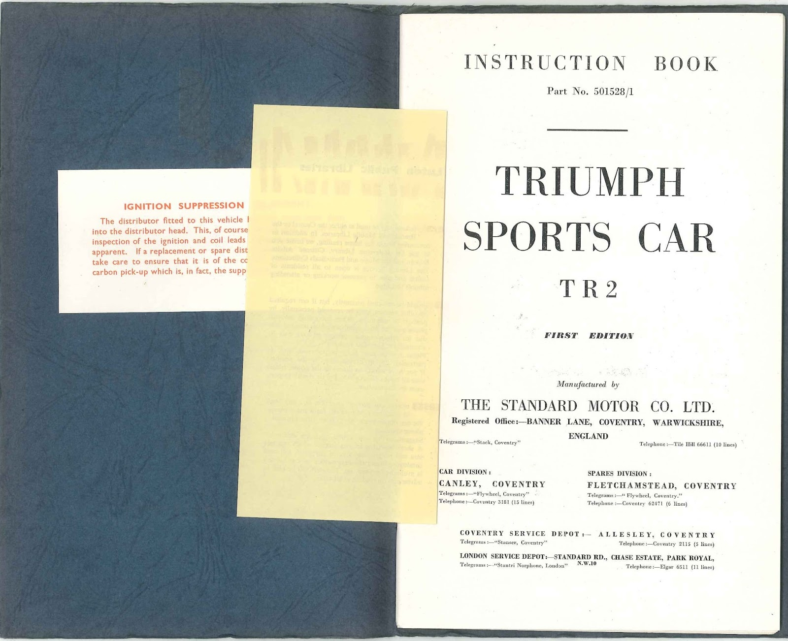 The Triumph TR2 Instruction Book is the first of several new documents that  I hope to be sharing. A friend recently obtained a collection of books that  were ...