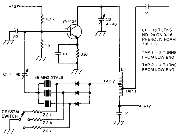 Simple Overtone oscillator with crystal switching Circuit