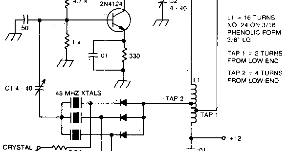 Overtone oscillator with crystal switching Circuit Diagram